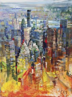 Art by Voka can be seen at Sirona Fine Art and Frankey's Sports Bar! Cityscape Drawing, Cityscape Art, Art And Illustration, Cool Paintings, Landscape Paintings, Voka Art, City Scene, New York Art, Art Graphique