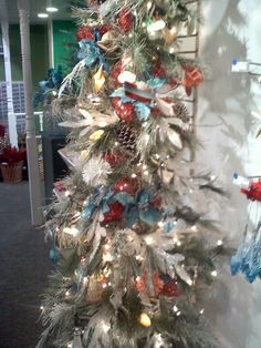 Red, White, Ice Blue, and Orange Christmas Tree