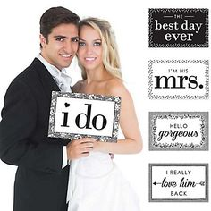 I Do - Wedding - 10 Piece Photo Props Kit - Wedding photo props to use for your wedding day and photos (aff link)