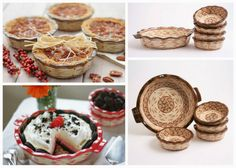 "Temp-tations® (by Tara McConnell) Old-World Stoneware 6-pc Baking Set.  The pieces are beautifully made, bake food evenly, and are easy to clean.  They are reasonably priced -- my 6 piece set which includes a 9"" fluted deep dish pie plate and four 12 oz. mini pie dishes sells for just $29.95.  The set comes in your choice of 11 different colors."