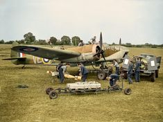 Bristol Blenheim Mark IV, of No. 110 Squadron RAF, at RAF Wattisham, Suffolk. Armourers unload GP bombs and Small Bomb Containers (SBCs) of incendiaries from a trolley, while other ground-crew refuel the aircraft. Aircraft Photos, Ww2 Aircraft, Military Aircraft, Bristol Blenheim, Ww2 Planes, Vintage Airplanes, Battle Of Britain, World War Two, Wwii