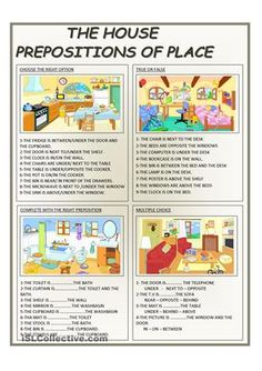 There are four activities about prepositions of place - ESL worksheets