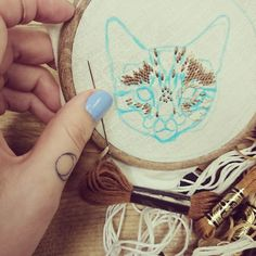progress photo of embroidered pet portraits