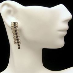 ELEGANT RHINESTONE EARRINGS! The black and clear color scheme of these vintage rhinestone dangle earrings is so chic and glamorous! Vintage Black Clear Rhinestones Dangles Pierced Posts Earrings Nice Sparkle, $29.95 from http://stores.ebay.com/My-Classic-Jewelry-Shop :)