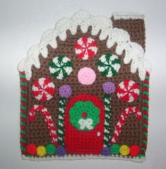 Handmade crochet Gingerbread house potholder.  Found this finished item on eBay.