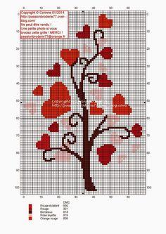 Kanaviçe Şemaları: Kanaviçe Kalpler Cross Stitch Tree, Cross Stitch Boards, Cross Stitch Heart, Cross Stitching, Cross Stitch Embroidery, Hand Embroidery, Wedding Cross Stitch Patterns, Cross Stitch Designs, Crochet Stitches Patterns