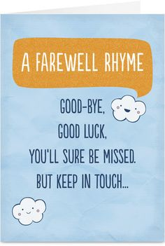 Goodbye Poem Good Luck Card
