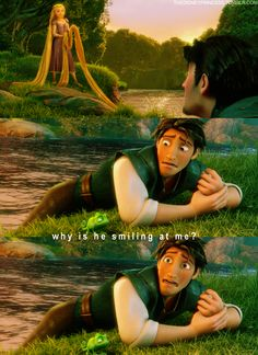 "Tangled- ""Why is he smiling at me?"" Before Rapunzel heals his hand. Disney Tangled, Disney Love, Disney Magic, Tangled Funny, Pascal Tangled, Tangled Quotes, Tangled 2010, Tangled Series, Baddies"