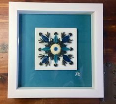 """Quilled Paper Art, """"Blooming Blues"""", Resin Cured, Quilled Flowers, Framed Art by ThePickerElite on Etsy"""