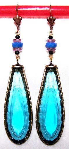 1920s Art Deco Czech Glass Drop Earrings