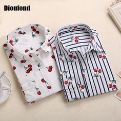 1990ef9de Dioufond New Floral Long Sleeve Vintage Blouse Cherry Turn Down Collar  Shirt Blusas Feminino Ladies Blouses Womens Tops Fashion-in Blouses &  Shirts from ...