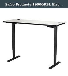 """Safco Products 1960GRBL Electric Height-Adjustable Table, 60"""" x 24"""", Gray/Black. Make standing a part of your workday with the Electric Height-Adjustable Table that lets you choose how you work. The Table Base easily adjusts from 24"""" to 50""""H (including 1"""" thick work surface) at 1.5"""" per second allowing the choice to sit or stand while working, and easily transition from one position to another. It also features a soft start/stop control and a quiet motor (<50dB) to not disturb others in…"""