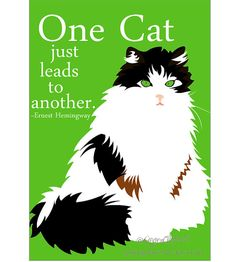 Cat Art Digital Print Wall Decor One Cat Just Leads to Another via Etsy