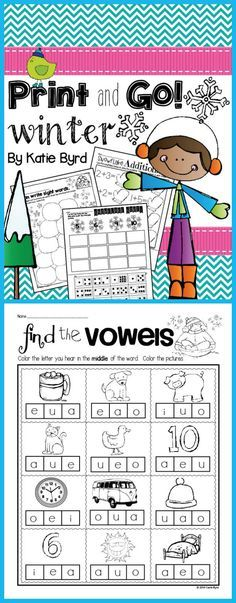 Loads of NO PREP pages with math and literacy review for your kindergarten classroom this winter.  $