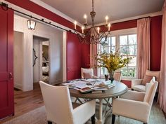 - Dining Room Pictures From HGTV Smart Home 2014 on HGTV.        Love this red dining room and barn doors.