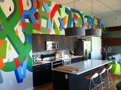 The 21 Coolest Things To Do With A Kitchen - create a Giant Wall Mural!