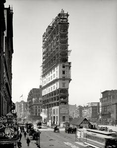 Times Square, bem no meio da cidade de Nova York, em 1903.