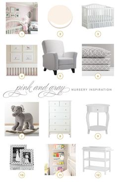 """My pink and gray nursery inspiration board, featured on my blog. It features Benjamin Moore's """"Soft White"""" paint and a mix of neutral gray and white furniture and accents. #pink #gray #nursery #baby"""