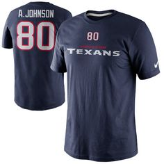 Nike Andre Johnson Houston Texans Player Name And Number T-Shirt - Navy Blue - $18.99