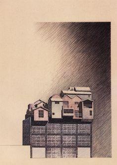 Kunihiko Hayakawa, Sky Village, Shibuya, Tokyo, Japan, 1988  #architecture #drawing Pinned by www.modlar.com