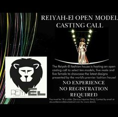 Reiyah-El is calling all aspiring models to inquire about modeling in our premier fashion show being held on 1-18-14! For all inquiries email us at stewartdemond@rocketmail.com HURRY DEADLINE 12-1-13