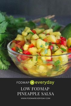 We LOVE this Low FODMAP Pineapple Salsa! It is incredibly versatile, working well with seafood, poultry or meats – even tofu! Fodmap Recipes, Diet Recipes, Healthy Recipes, Weekly Recipes, Diet Tips, Recipies, Snack Recipes, Healthy Meals For Kids, Easy Meals