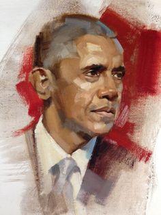 President Barack Obama - Oil on linen by Greg Manchess. Barack Obama, Obama Art, Barak And Michelle Obama, Obama Portrait, Visual And Performing Arts, Oil Portrait, Portrait Paintings, Star Wars, Historical Art