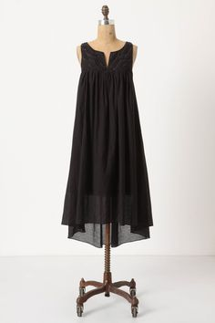 """Agneta Dress in black.  """"...flowy effortlessness, meet sparkling, detailed intricacy.""""  A perfectly laid-back-yet-dressed-up frock perfect for summer dinner parties."""
