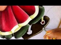 Pintura en tela niña sandia cuatro con cony - YouTube