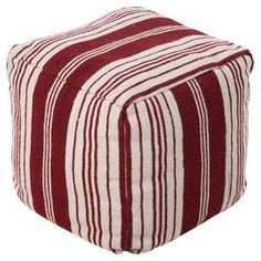 """Showcasing a striped motif and square silhouette, this wool pouf brings a charming touch to your patio or living room.  Product: PoufConstruction Material: 100% WoolColor: Carnelian and whiteFeatures: Suitable for indoor or outdoor useDimensions: 18"""" H x 18"""" W x 18"""" D"""
