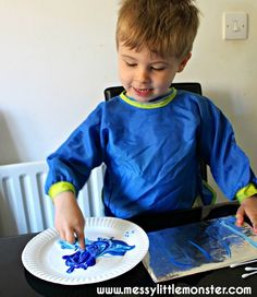 Painting on foil using cotton buds - simple process art activity for kids.