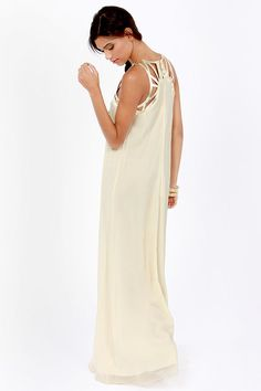 Lumier Graceful Gladiator / Lattice Cream Maxi Dress at LuLus.com