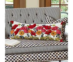 Love this Poppy Pillow on the black and white furniture!