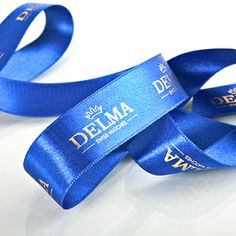 royal blue ribbons with gold printing #delma #image #schleifenband #satinband…