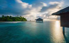 Download wallpapers 4k, Maldives, sunset, summer, sea, resort, Asia