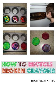 How to recycle broken crayons! I have a crayon maker but this is better Diy Arts And Crafts, Diy Crafts For Kids, Projects For Kids, Crafts To Make, Fun Crafts, Summer Crafts, Craft Projects, Craft Ideas, Toddler Crafts