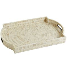 Engineered from hardwood and handcrafted with an iridescent pearl white capiz overlay, this tray was made to do more than just serve your guests drinks. Multifaceted and beautiful, this tray was made to change the conversation.