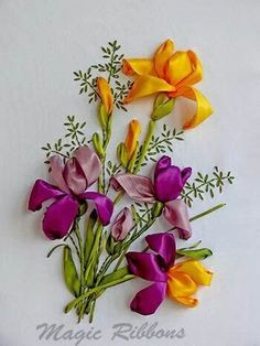 Ribbon embroidery of purple and golden irises... inspiration only