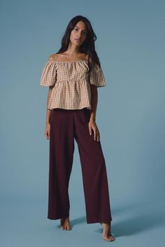 4247ae5d31a8a Chanju Bardot Top in Mustard Gingham. Sustainable ClothingSustainable ...