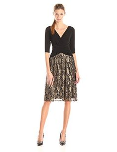 Sangria Women's Elbow Sleeve V-Neck Metallic Lace Skirt Fit and Flare Dress, Black/Gold, 2 Sangria http://www.amazon.com/dp/B0145H00EY/ref=cm_sw_r_pi_dp_VfYxwb06385N9