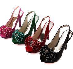 Shining High Heels Beads Bowknot Embellished Shoes
