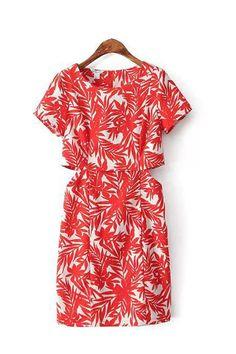Red Short Sleeve Round Neck Print Zipper Dress