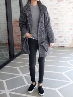 Image via We Heart It https://weheartit.com/entry/158324949/via/2159566 #black #coat #cool #grey #hipster #indie #outfit #shoes #skinnies #slipon #winter