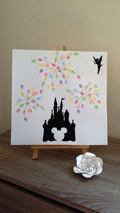 """arbre à empreintes """"feux d'artifice """"avec 1 encreur 6 couleurs offert château disney , mickey, fée clochette. baptême, anniversaire ..."""