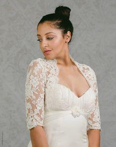 31c22f3b742a53 Plus Size Lace Wedding Bolero - Plus Size Bolero - Lace Wedding Jacket -  Rachel