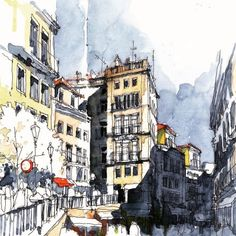 Urban sketches by Pedro Alves (Portugal) Disney Sketches, Cool Sketches, Drawing Sketches, Monuments, Sketching Techniques, Travel Sketchbook, Cities, Watercolor Sketch, Watercolor City
