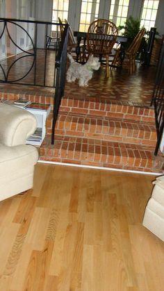 Amazing vintage broken tile floor, wrought iron railing, & brick steps leading to a sunken living room. Love it.