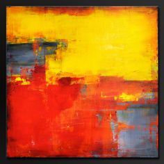 Enchantment 24 x 24 Abstract painting on canvas Deep 1 1/2 canvas Sides are painted black, staple free, ready to hang, no frame necessary. Signed and dated on the back. This original abstract painting has been done in vivid shades of crimson red, orange, sunshine yellow, dove gray, tangerine, charcoal, and black. Finished in gloss varnish to protect the painting from dust and UV light for years to come. Can be hung numerous ways. Deep rich colors on this great piece.