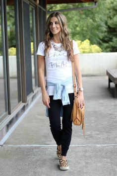 Style Lately Chic Just Got Real Tee, jogger pants, leopard sneakers