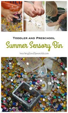 Welcome summer with this sparkly summer sensory bin for toddlers and preschoolers! So easy to set up!